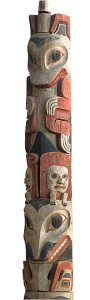 Upper section of totem pole featuring the Killer Whale and Frog — Courtesy Museum Victoria, Australia